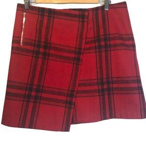 Dalia Red Tartan Plaid Wool Blend Faux Wrap Mini Skirt, size 10